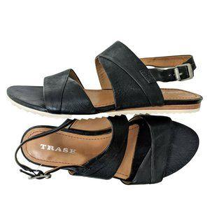 Trask Sadie Black Leather Slingback Sandal sz 7.5